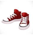 Red sports sneakers with white laces vector image