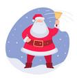 santa claus ringing bell christmas holidays xmas vector image vector image