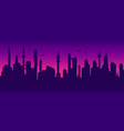 seamless cyberpunk cityscape silhouette vector image vector image