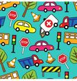 seamless pattern with cars and traffic signs vector image vector image