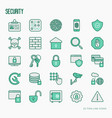 security and protection thin line icons set vector image