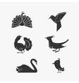 set bird symbols vector image vector image