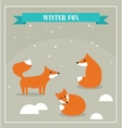 Set of cute little foxes in winter forest vector image vector image