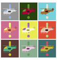 set of icons in flat design helicopter vector image