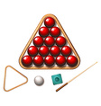 Snooker balls and stick vector image