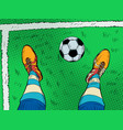 soccer player and ball feet shoes profession vector image vector image