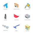tattoo parlor icons set isometric style vector image
