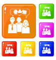 teamwork chat icons set color vector image vector image
