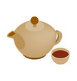 Teapot and cup isometric icon vector image