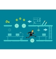 The game of business A man jumps over obstacles vector image vector image