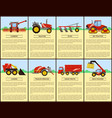 tractor and combine set poster vector image