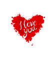 Watercolor Valentines Day Heart lettering I love vector image