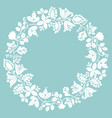 white laurel wreath frame on pastel mint green vector image vector image