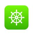 wooden ship wheel icon digital green vector image vector image