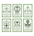 happy easter holiday card set with cross and dove vector image