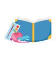 back to school book stapler palette color vector image vector image