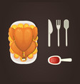 baked turkey with orange for thanksgiving day in vector image vector image