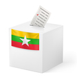 Ballot box with voting paper Union of Myanmar vector image vector image