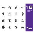 black halloween icons set on white background vector image vector image