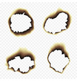 burnt scorched paper hole on vector image vector image