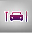 car tire repair service sign purple vector image vector image