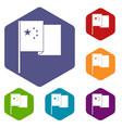 china flag icons set hexagon vector image vector image