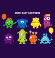 collection cute cartoon bamonsters vector image vector image