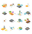 cooking or preparation food icons set isometric vector image vector image