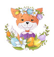 cute cartoon fox in a wreath colorful easter vector image vector image