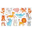 cute hand drawn animals friendship animal funny vector image vector image