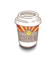 Cute hand-drawn cartoon style coffee cup with vector image