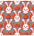 cute little bunny striped seamless pattern vector image vector image
