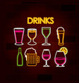 drinks set of neon sign on brick wall vector image vector image