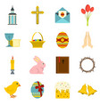 easter items icons set in flat style vector image