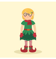 Elf Christmas Glasses Girl vector image