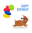 funny dog birthday card with balloons vector image vector image