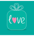 Gift box with word love Dash line Flat design vector image vector image