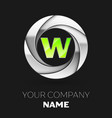 green letter w logo symbol in the silver circle vector image vector image
