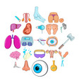 gynecologist icons set cartoon style vector image