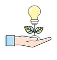 hand with energy bulb plant with leaves and ground vector image vector image