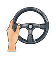hand with steering wheel car auto control icon vector image vector image
