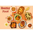 Hearty dishes with baked meat and fish icon vector image vector image