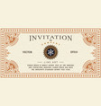 invitation card antique frame label engraving vector image