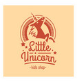 kids shop logo with pink unicorn cute vector image vector image