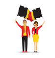 man and woman waving belgium flags vector image vector image