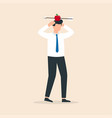 man with apple on his head and arrow shot through vector image