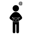 Man with mail flat icon pictogram isolated on vector image