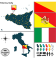 map palermo in sicily vector image