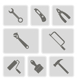 monochrome icons with tools related vector image vector image