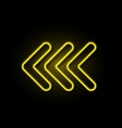 neon arrow realistic glowing yellow sign vector image vector image
